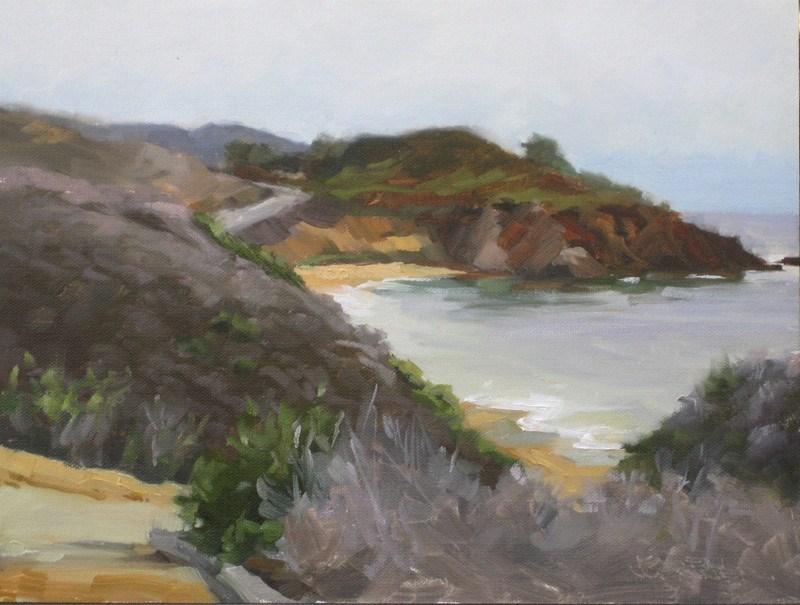 """Overcast -Abalone Point"" original fine art by Karen Werner"