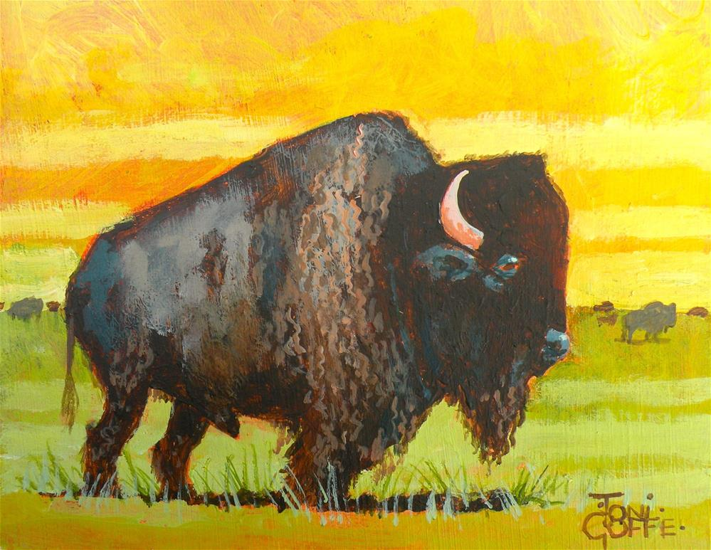 """Buffalo Pause"" original fine art by Toni Goffe"