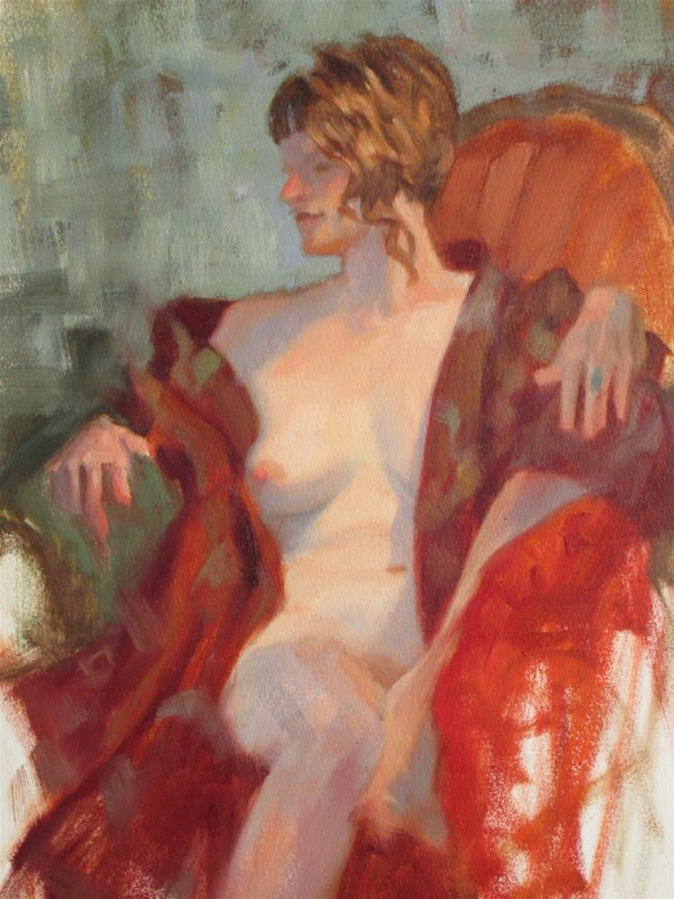 """Red Robe 16in x 12in  oil on paper"" original fine art by Claudia Hammer"