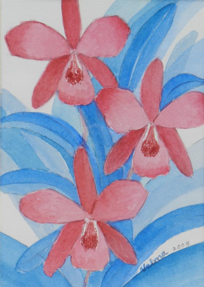 """Three Red Orchids"" original fine art by Velma Davies"