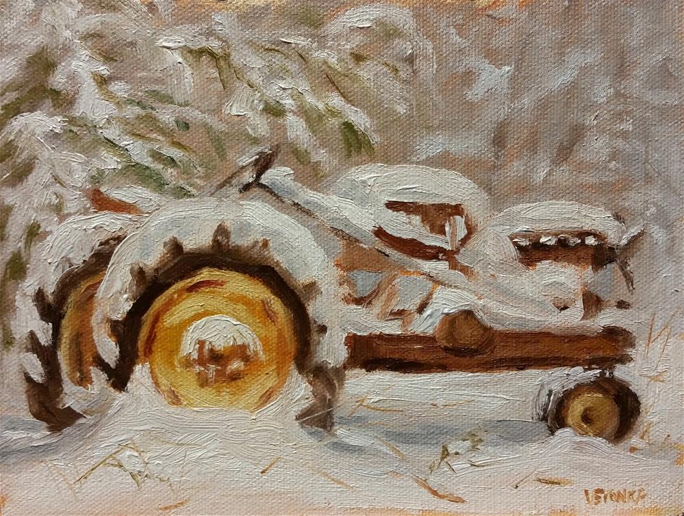"""Parts Tractor-plein air"" original fine art by Veronica Brown"