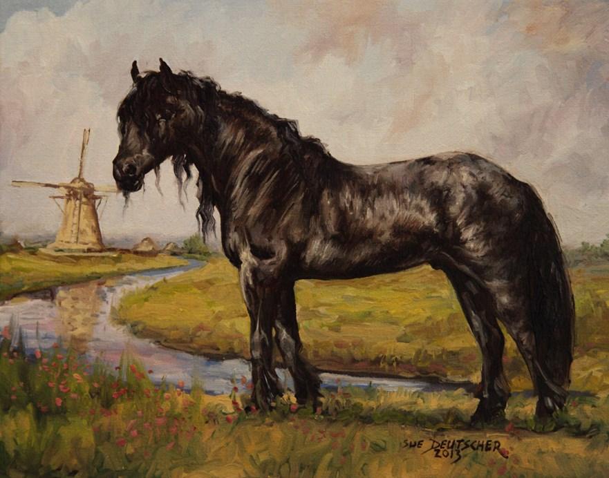 """""""Friesian Horse"""" original fine art by Sue Deutscher"""