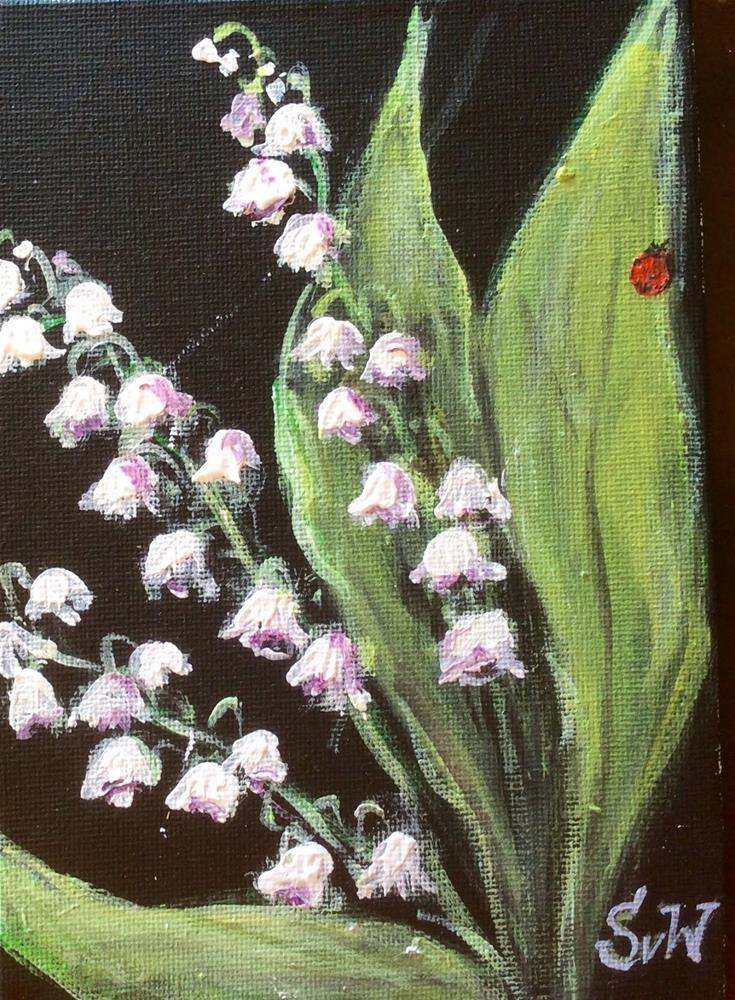 """Lily of the valley with ladybug painting"" original fine art by Sonia von Walter"