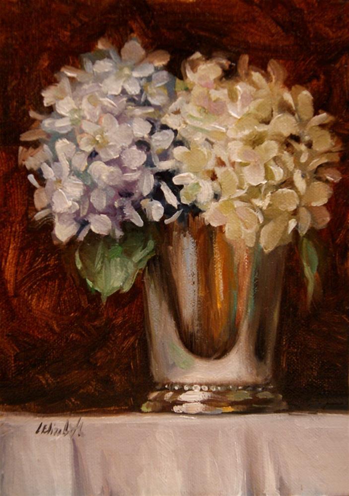 """Blue and White Hydrangeas in Mint Julep Cup, 5x7 Oil on linen Panel"" original fine art by Carolina Elizabeth"