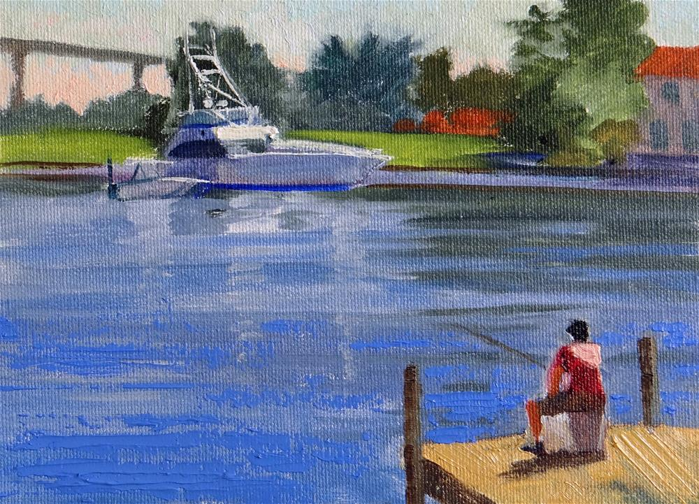 """""""Fishing on the Dock at the Bay"""" original fine art by Nancy Paris Pruden"""