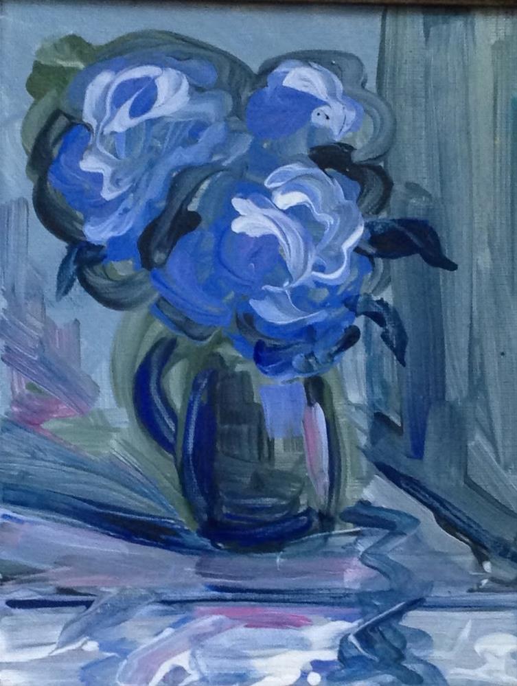 """Hydrangeas in Green Pitcher"" original fine art by Leslie Spencer"