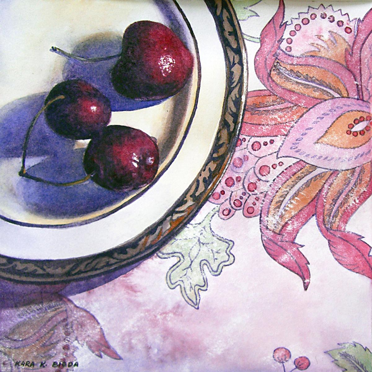 """Cherries"" original fine art by Kara K. Bigda"