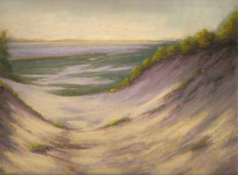 """""""Evening Dune Solitude Landscape Painting by Poucher"""" original fine art by Nancy Poucher"""