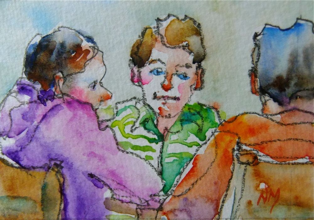 """""""tea and a cookie"""" original fine art by Nora MacPhail"""