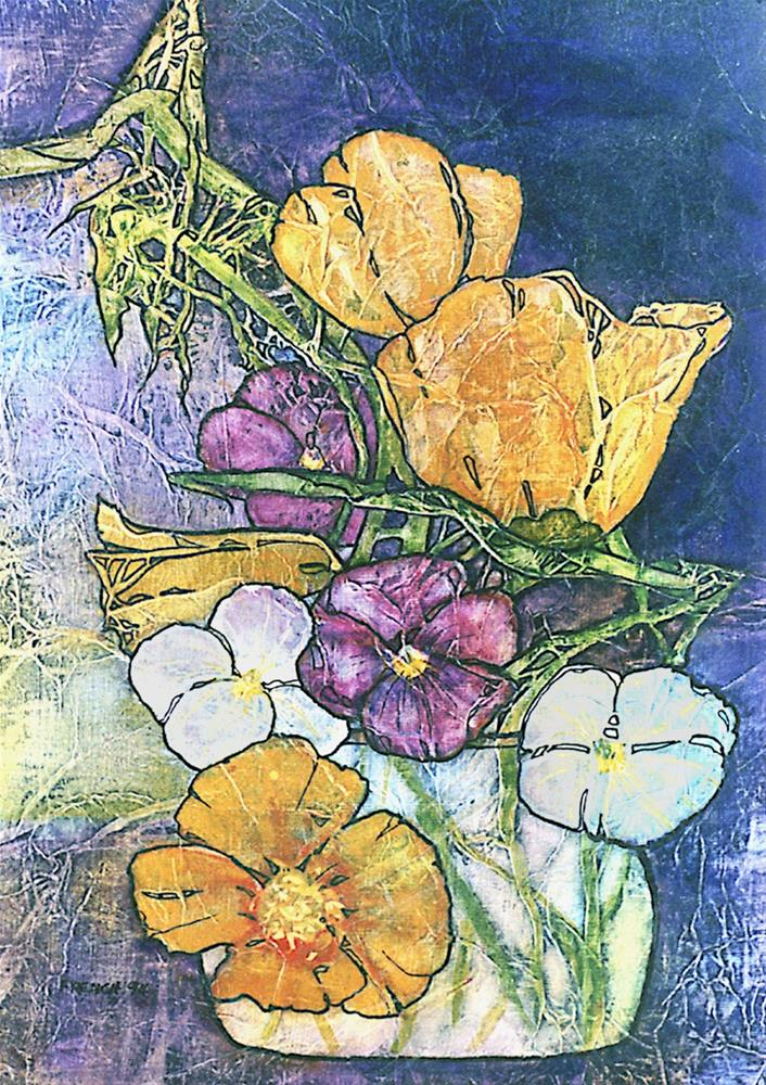 """Zen Inspired Poppies & Pansies Watercolor on Tissue"" original fine art by lynne french"