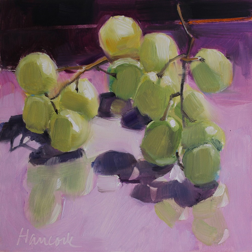 """Green Grapes on Glass on Lavender"" original fine art by Gretchen Hancock"
