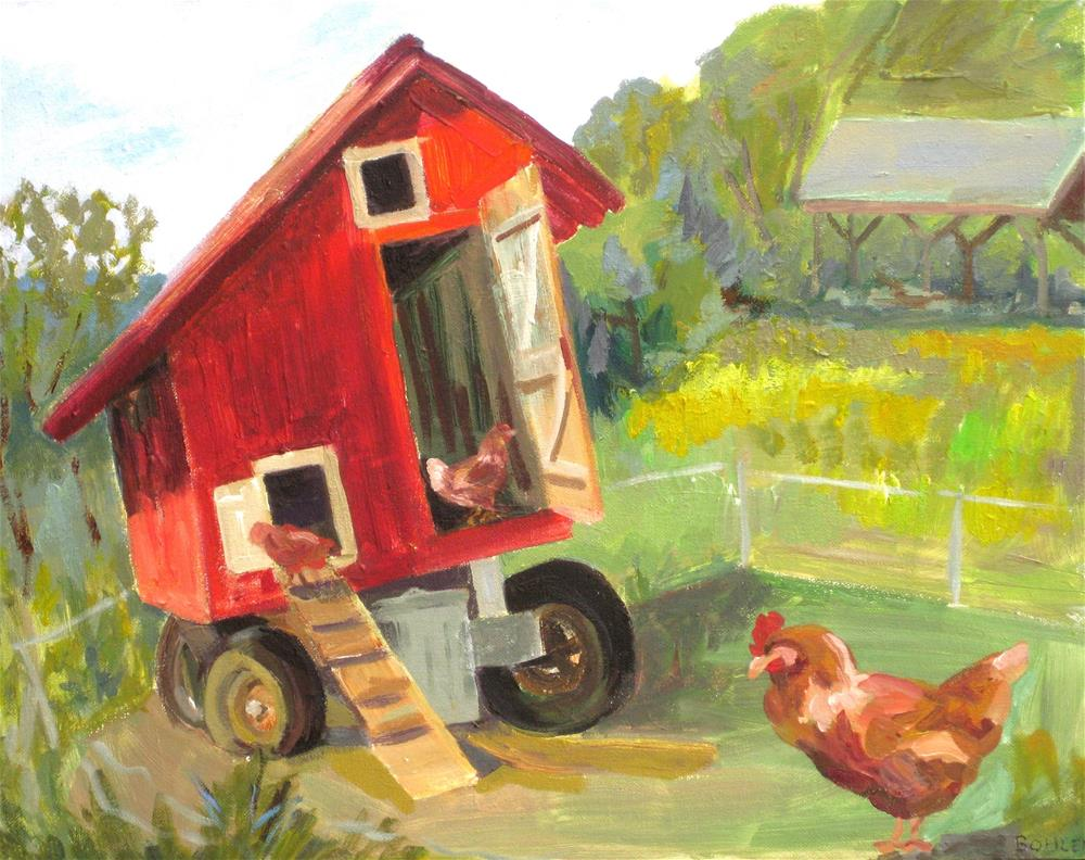 """Chicken coup on wheels with flat tire"" original fine art by Priscilla Bohlen"