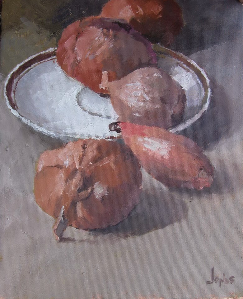 """Still Life with Shallots"" original fine art by Richard Jones"