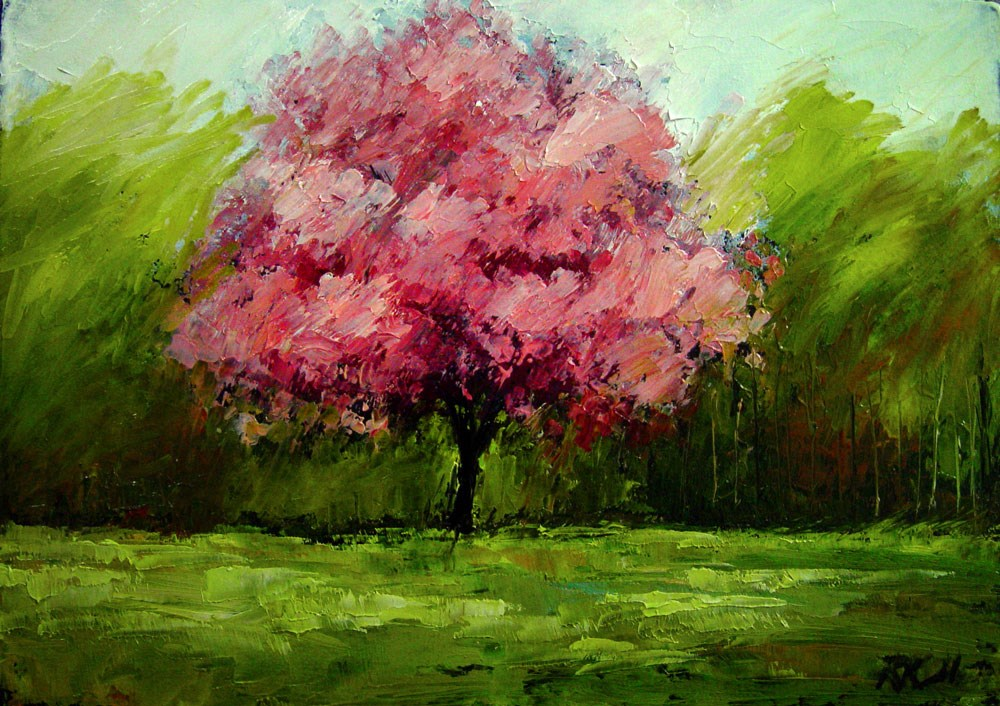 """Cherry Tree in the Park"" original fine art by Bob Kimball"