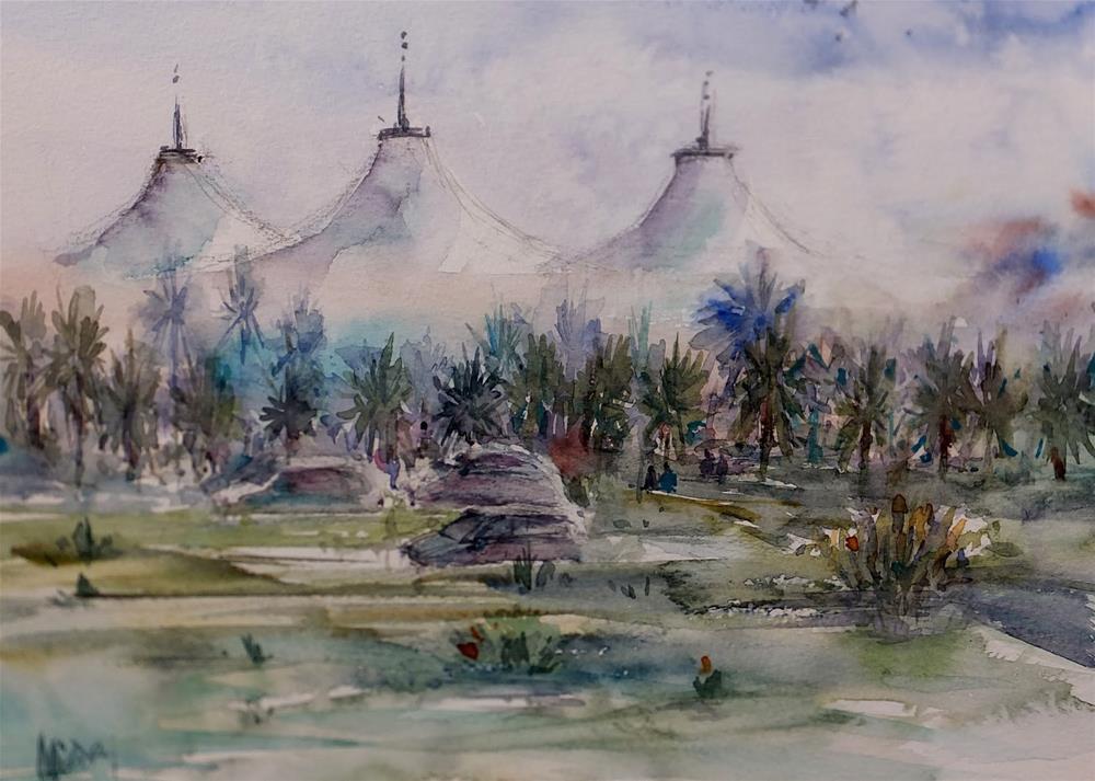 """""""Al Zafrana Vegetable souq,Al Ain , UAE"""" original fine art by Midori Yoshino"""