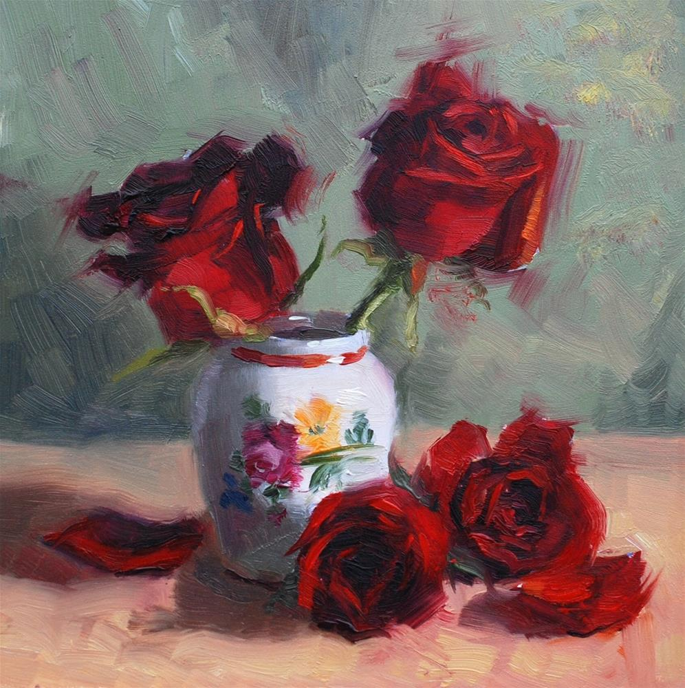 """No. 690 Roses with Small White Vase"" original fine art by Susan McManamen"