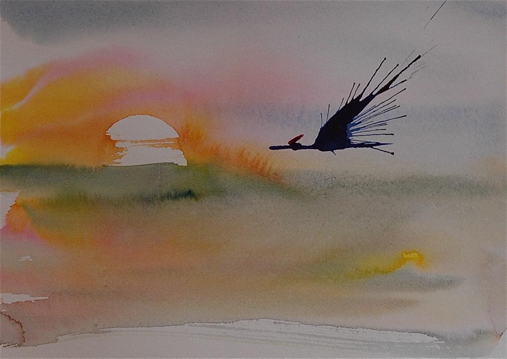 """Crane - 8"" original fine art by Ulrike Schmidt"