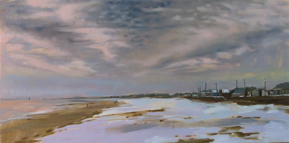 """Snow on beach, Sutton-on-sea"" original fine art by Haidee-Jo Summers"