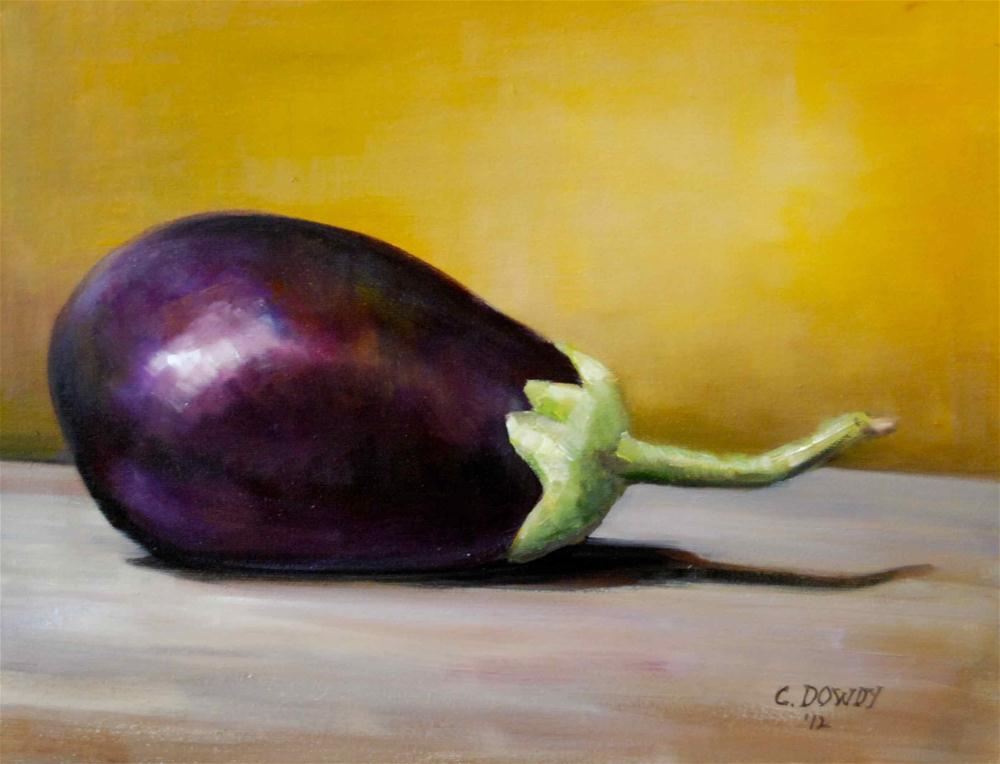 """Eggplant on Gold"" original fine art by Christina Dowdy"