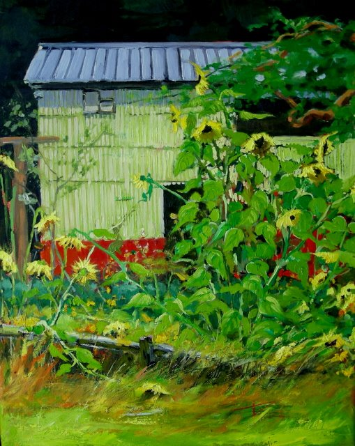 """Sunflower Garden   oil painting"" original fine art by Robin Weiss"