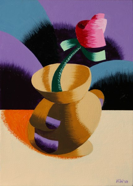 """Mark Webster - Abstract Geometric Rose in Vase Still Life Oil Painting"" original fine art by Mark Webster"