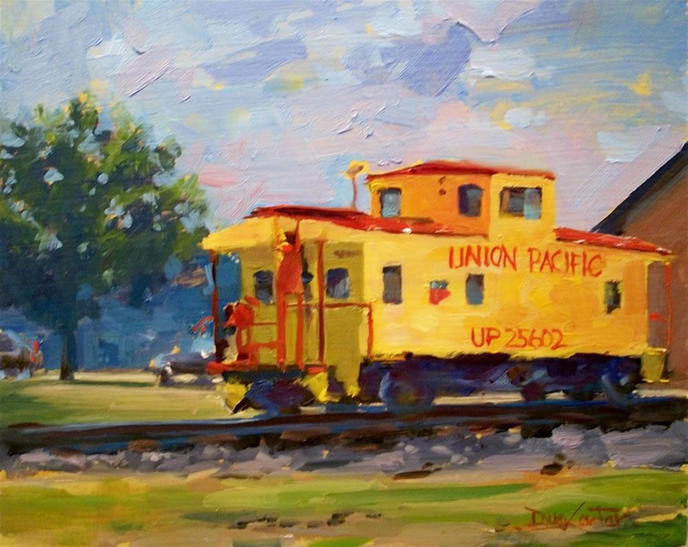 """"""" LITTLE YELLOW CABOOSE """" original fine art by Doug Carter"""