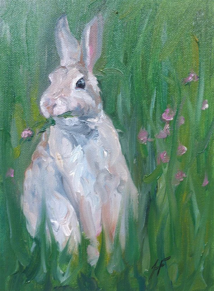 """Bunny with Clover"" original fine art by H.F. Wallen"