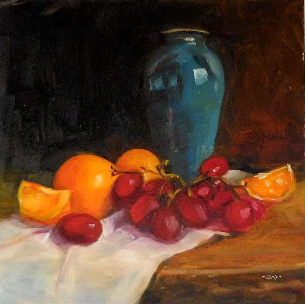 """Blue Vase With Fruit"" original fine art by Cietha Wilson"