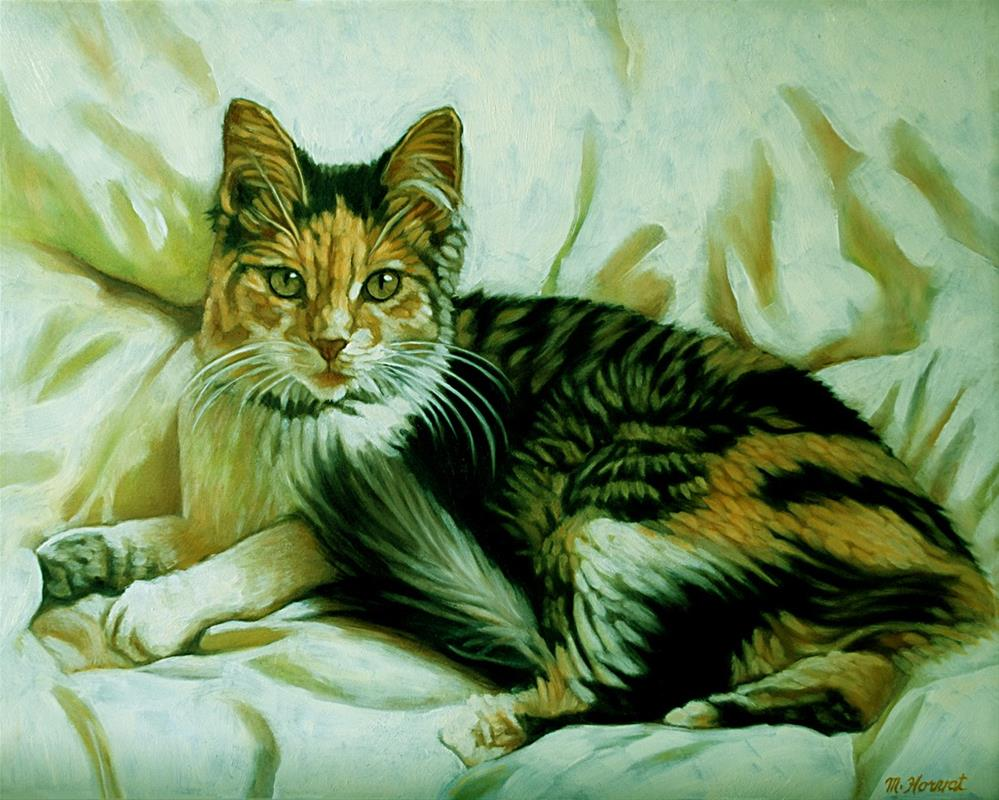 """Kitty in a Blanket"" original fine art by Margaret Horvat"