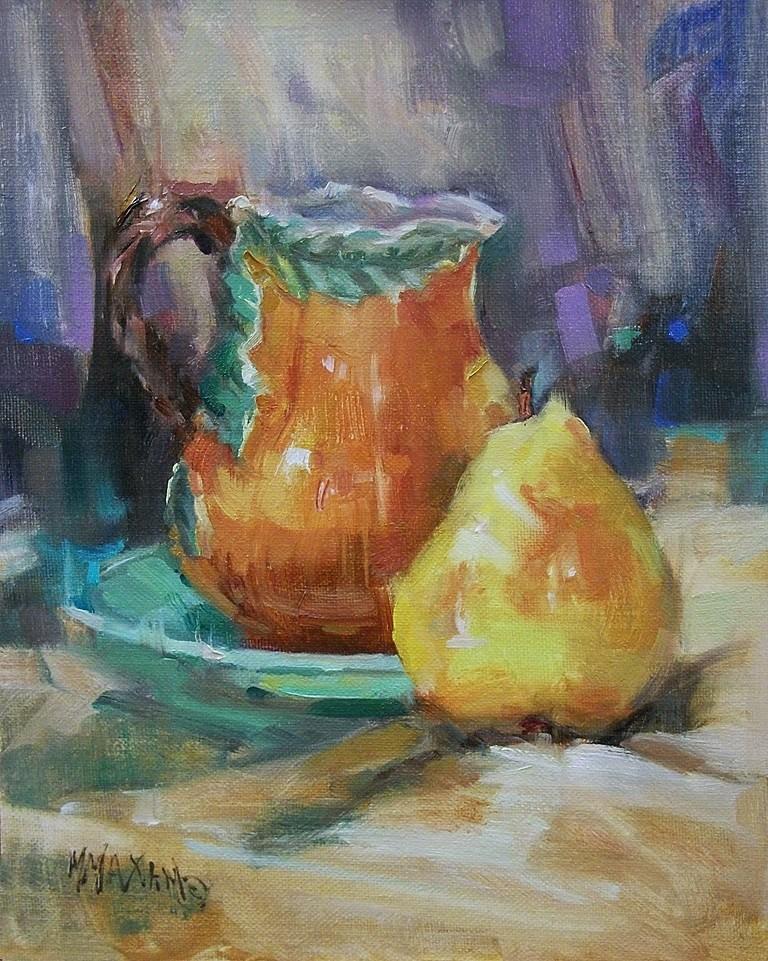 """Pitcher & Pear"" original fine art by Mary Maxam"