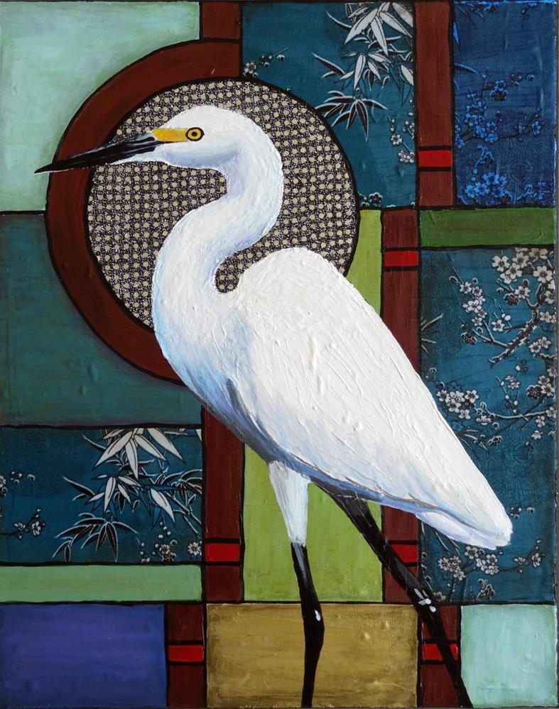 """Snowy Egret"" original fine art by Ande Hall"