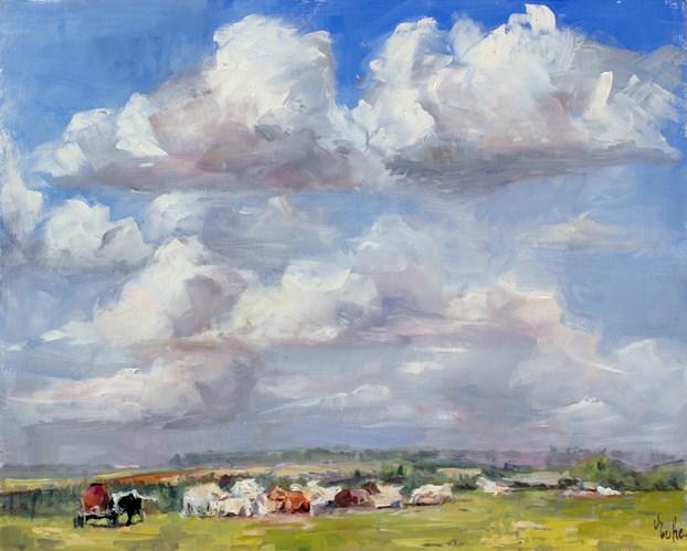"""Vaches en été"" original fine art by Evelyne Heimburger Evhe"