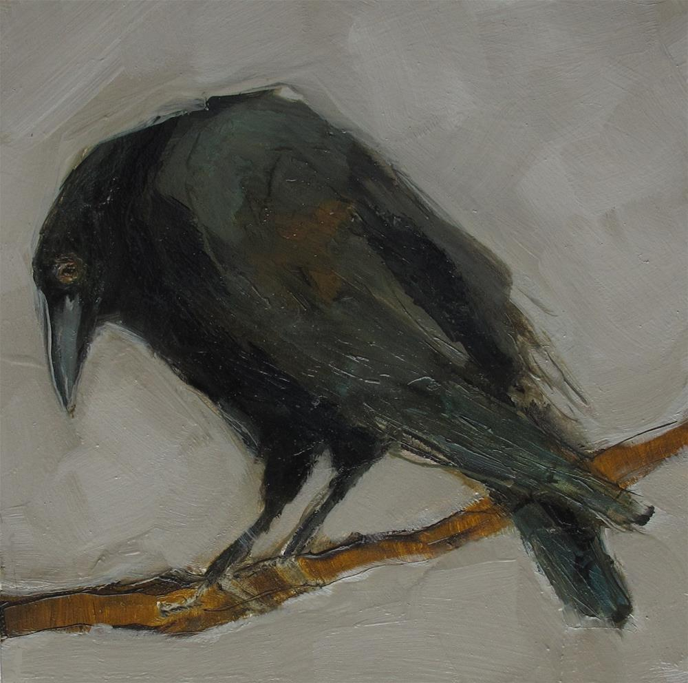 """CROW RAVEN BLACK BLACKBIRD BIRD Original Art Colette Davis Art Painting OIL"" original fine art by Colette Davis"