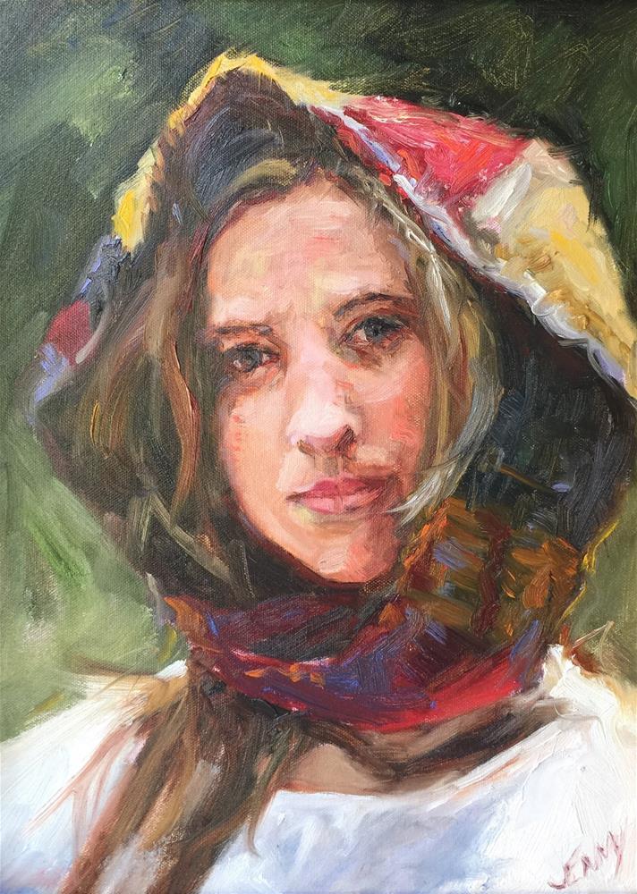 """Girl with scarf"" original fine art by Jenny Buckner"
