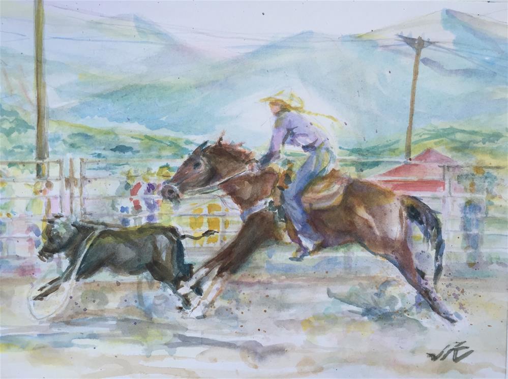 """Breakaway Calf Roping"" original fine art by jean krueger"