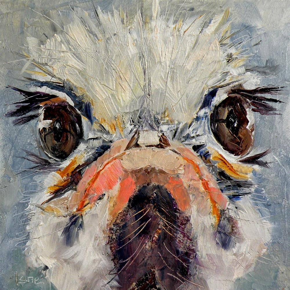 """LASHES AN OSTRICH 4X4 OIL ON TEXTURED PANEL FOR MY ETSY SHOP © SAUNDRA LANE GALLOWAY"" original fine art by Saundra Lane Galloway"