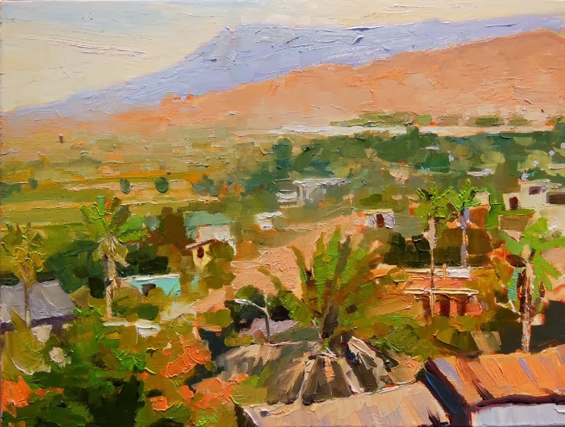 """View of Pescadero  Mexico, plein air, landscape painting by Robin Weiss"" original fine art by Robin Weiss"