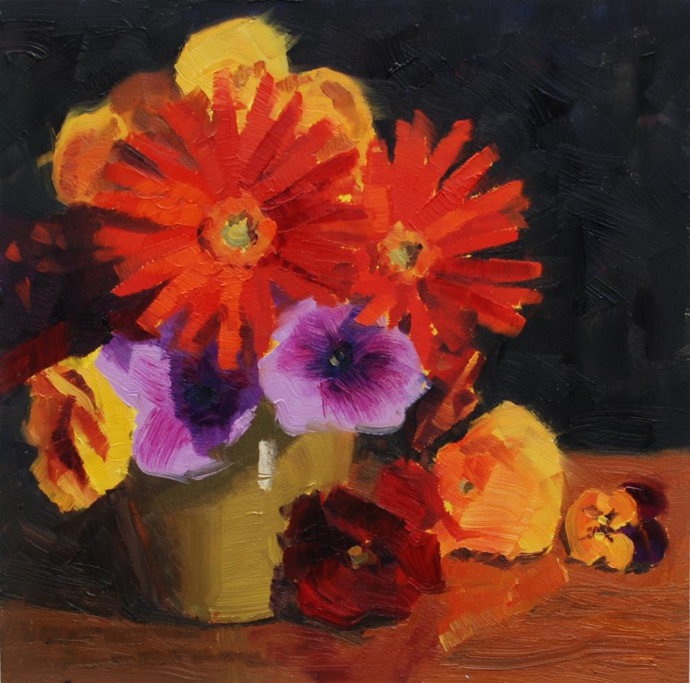 """Teacup Bouquet with Gerber Daisies"" original fine art by Susan McManamen"