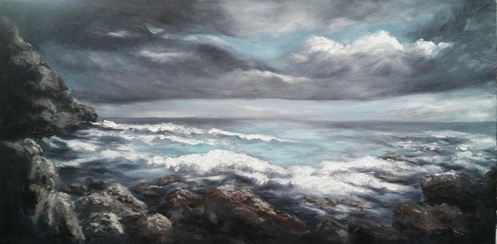 """Stormy Sea"" original fine art by Camille Morgan"