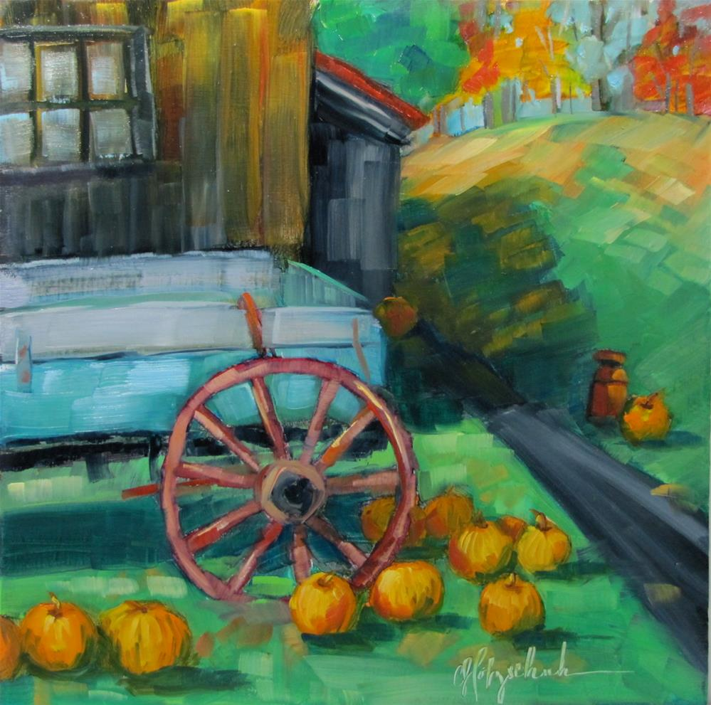 """Loading Pumpkins"" original fine art by Christine Holzschuh"