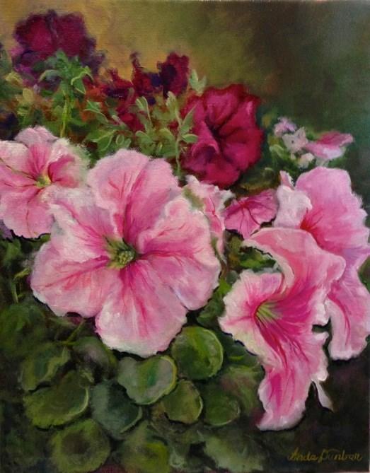 """Pink Petunias"" original fine art by Linda Dunbar"