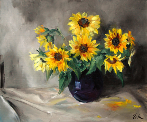 """Tournesols d'octobre"" original fine art by Evelyne Heimburger Evhe"