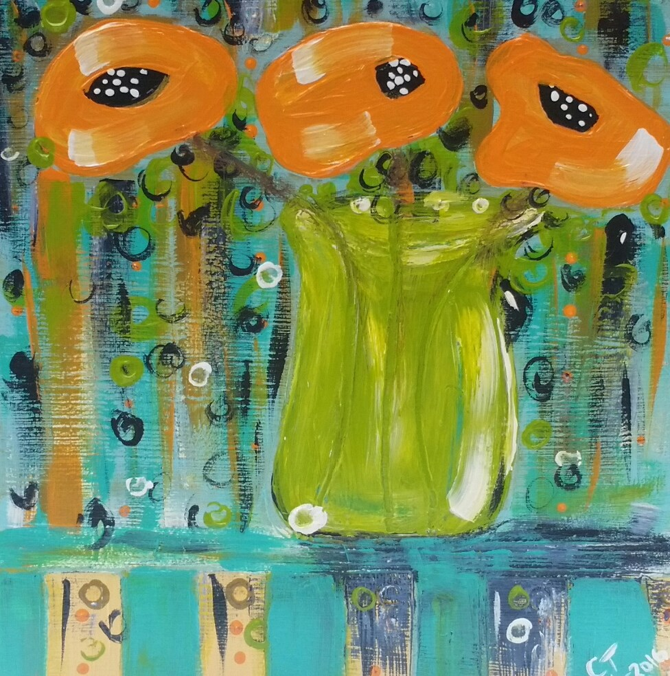 """Summer Poppies I"" original fine art by Christy Tremblay"