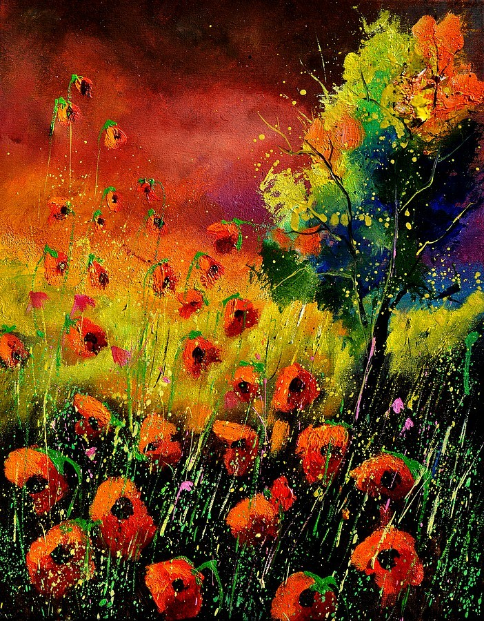 """red poppies 451130"" original fine art by Pol Ledent"