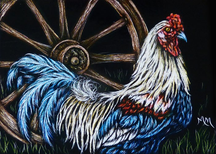 """Rooster  -  SA109"" original fine art by Monique Morin Matson"