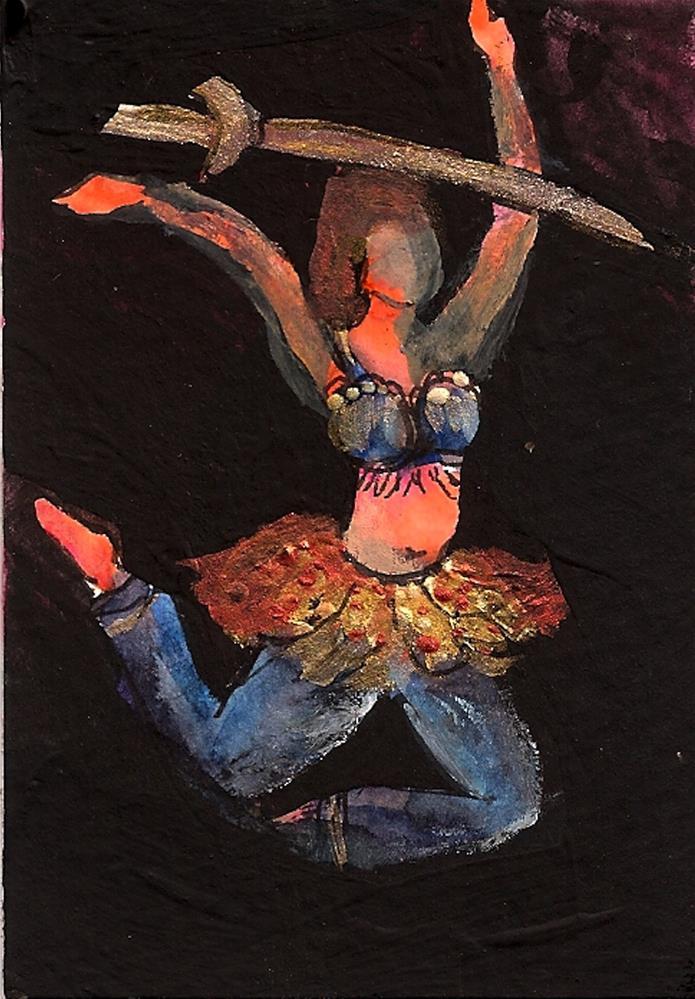 """ACEO Bellydancer #15 Mixed Media, Middle Eastern Dancer Balancing Sword"" original fine art by Penny Lee StewArt"