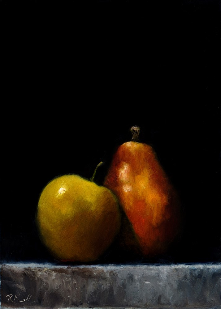 """Apple and Pear"" original fine art by Bob Kimball"