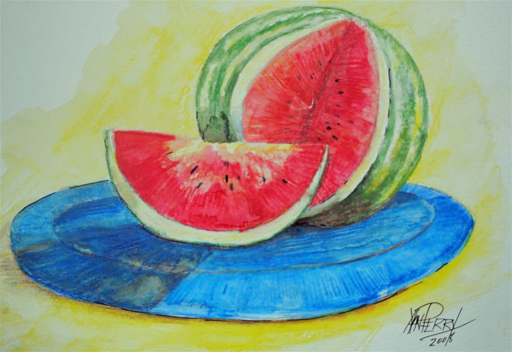 """Water Melon Served Up"" original fine art by Nan Perry"
