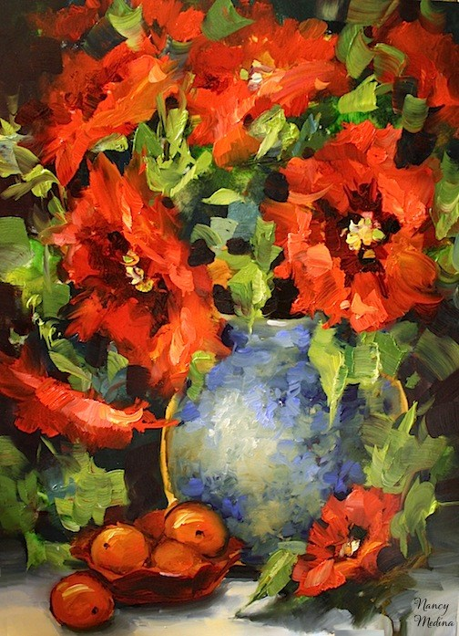 """Fire and Ice Poppies and a January Workshop by Texas Artist Nancy Medina"" original fine art by Nancy Medina"