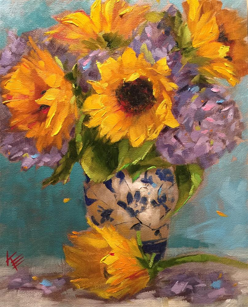 """Still life with Sunflowers & Hydrangeas"" original fine art by Krista Eaton"